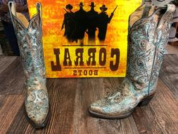 Ladies Corral Brown/Turquoise Western Boots with glitter inl