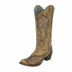 LADIES CORRAL WESTERN BOOTS ANTIQUE SADDLE/CHOCOLATE WINGS A