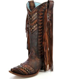 LADIES TAN FRINGE CORRAL WESTERN BOOTS C2986