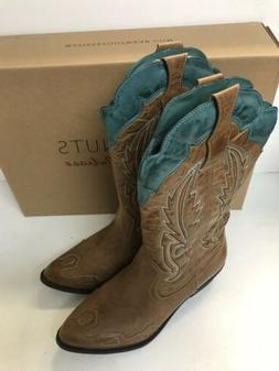 Ladies Western Boots, Coconuts By Matisse, Tan/Turq, Size 8.
