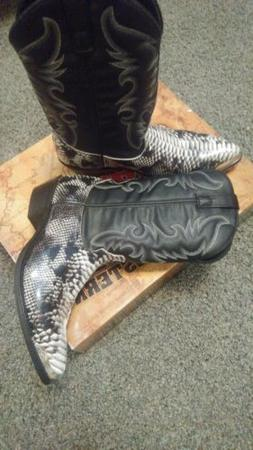 Laredo Mens Monty Snake Print Western Cowboy Boots Leather S