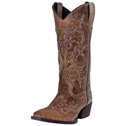 Laredo Womens Cross Point Stitch Western Cowboy Boot Leather
