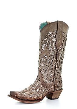 Corral Women's Luminary Glitter Inlay Studs Snip Toe Leather