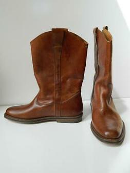 maison margiela boots western brown distressed leather