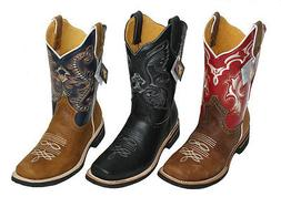 Men Cowboy Genuine Cowhide Leather PLAIN square toe rodeo we