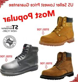 """Men's 6"""" Work Boots Shoes With Steel Toe Leather Shoe Lace U"""