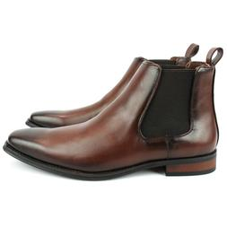 Men's Ankle Dress Boots Slip On Almond Round Toe Leather Che