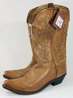 MEN'S OLD WEST BROWN LEATHER SNIP TOE WESTERN BOOTS MF1529 N