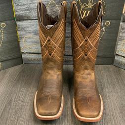 MEN'S BROWN VINTAGE LEATHER WORK BOOTS WESTERN COWBOY SQUARE
