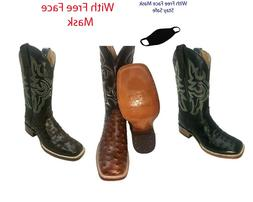 Men's Cowboy Boots Ostrich Print Leather Western Rodeo Squar