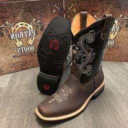 MEN'S DARK MOKA WORK BOOTS WESTERN COWBOY SQUARE TOE REAL LE