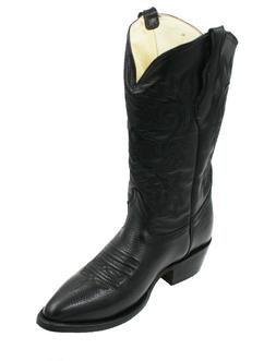 Men's Genuine Cowhide Leather Western Cowboy Black Boots CR0