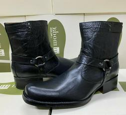 Men's Genuine Leather Boots Western Square Toe Buckle Cowboy