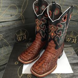 MEN'S RODEO COWBOY ALLIGATOR PRINT WESTERN SQUARE TOE BOOTS