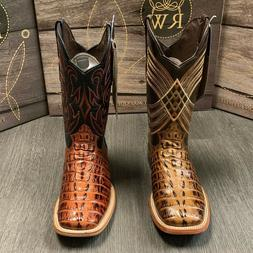 MEN'S RODEO COWBOY ALLIGATOR TAIL PRINT WESTERN SQUARE TOE B