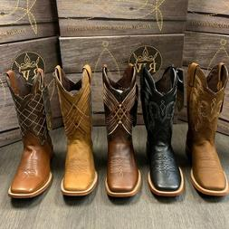 MEN'S RODEO COWBOY BOOTS GENUINE LEATHER BROWN SQUARE TOE BO