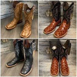 MEN'S RODEO COWBOY FISH PIRARUCU PRINT WESTERN SQUARE TOE BO