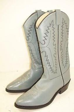 Men's OLD WEST Smooth Leather Med Toe Gray Cowboy Boots 8.5