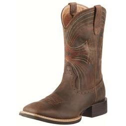 Ariat Men's Sport Wide Square Toe Boots Distressed Brown 100