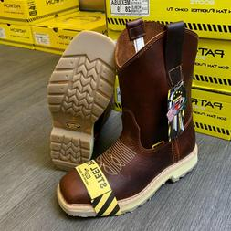 MEN'S STEEL TOE WORK BOOTS GENUINE LEATHER BROWN WESTERN COW