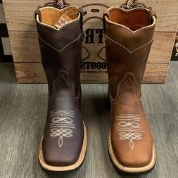 MEN'S WORK WESTERN BOOTS BULL DOG TOE LEATHER SHAFT WITH LEA