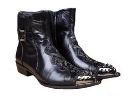 Mens Black Real Leather Ankle Boots Casual Dress Western Hig