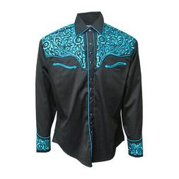 Mens Rockmount Black/Turquoise Western Tooling Ornate Embroi