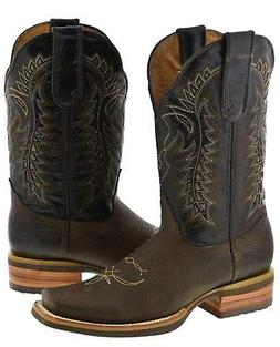 Mens Brown Overlay Inlay Genuine Leather Cowboy Boots Wester