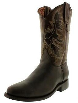Mens Brown Smooth Genuine Leather Western Wear Dress Rodeo C