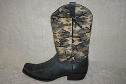 MENS COLT FORD CAMO SQUARE TOE WESTERN BOOTS US SIZE 12