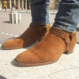 Mens Fashion Suede Pinted Toe Western Ankle Boots Casual Sho