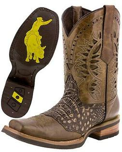Mens Sand Western Cowboy Boots Crocodile Belly Pattern Squar