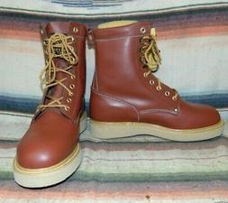 Mens Vintage Western Chief Brown Leather Lace Up Crepe Sole