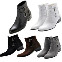 Mens western cowboy High top ankle boots zipper buckle strap