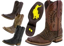 Mens Work Western Cowboy Boots Square Toe Crocodile Belly Pa
