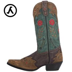 """LAREDO MISS KATE 11"""" BROWN TEAL WOMEN'S LEATHER WESTERN BOOT"""