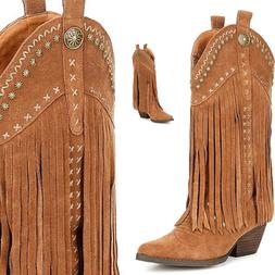 New Very Volatile barrow tan 100% Suede Fringe Western cowgi
