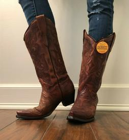 New Corral Ladies Leather Cowboy Western Boots 8 Burnished B