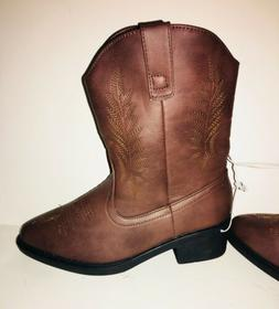 NEW Girls Western Boots cowboy cowgirl Boots TAN Pull On Fau