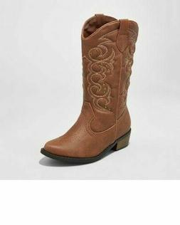 NEW Girl's Western Cowboy Boots Brown Cat & Jack Shoe Brow
