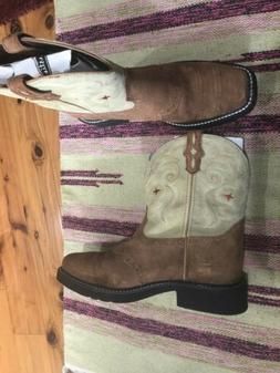 New Justin Gypsy Collection Boots Square Toe Tan Suede Women