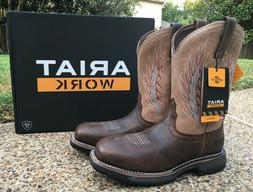 NEW Mens ARIAT Brown Leather WORKHOG Mesteno II Soft Toe Wes
