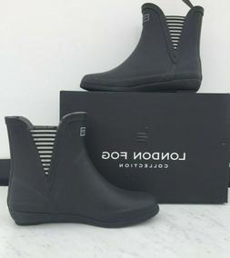 new piccadilly black stripe ankle rain boot