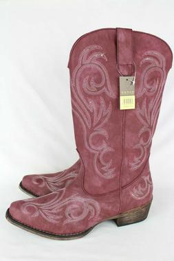 New Roper Women's Western Boots Riley Size 10.5 or 11 Raspbe