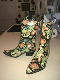NEW Womens Rubber Floral Western Boots 8 M Work Casual Dress