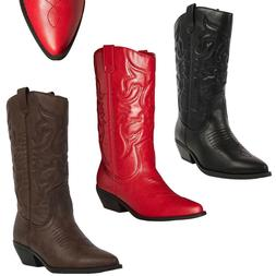 New Womens Western Cowboy Pointed Toe Knee High Pull On Tabs