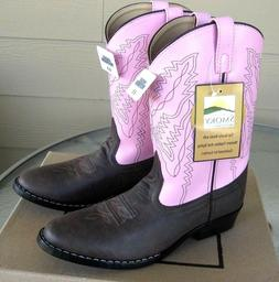 NIB! SMOKY MOUNTAIN Pink & Brown Western Cowboy Boots Size 8