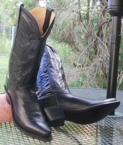 NWT! OLD WEST Black LEATHER WESTERN BOOTS Snip Toe Cowboy Ro