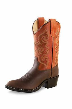 Old West Orange Children Boys Corona Calf Leather Cowboy Wes
