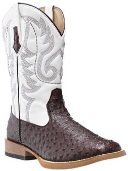 Roper Men's Ostrich Print Square Toe Cowboy Boot Brown Faux